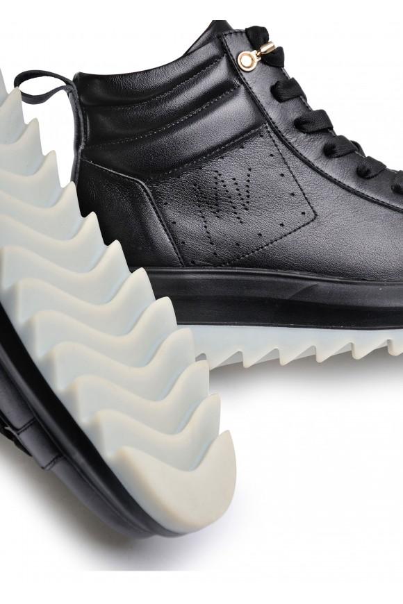 263342 Кожаные ботинки чёрного цвета