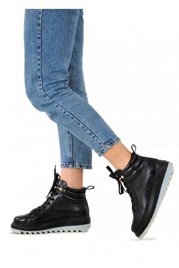 263342-Б Шкіряні черевики чорного кольору