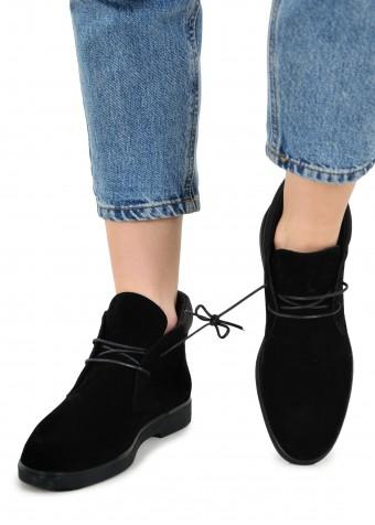505903 Чорні замшеві черевики
