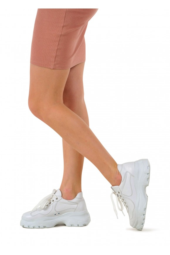 569134 Белые кожаные кроссовки