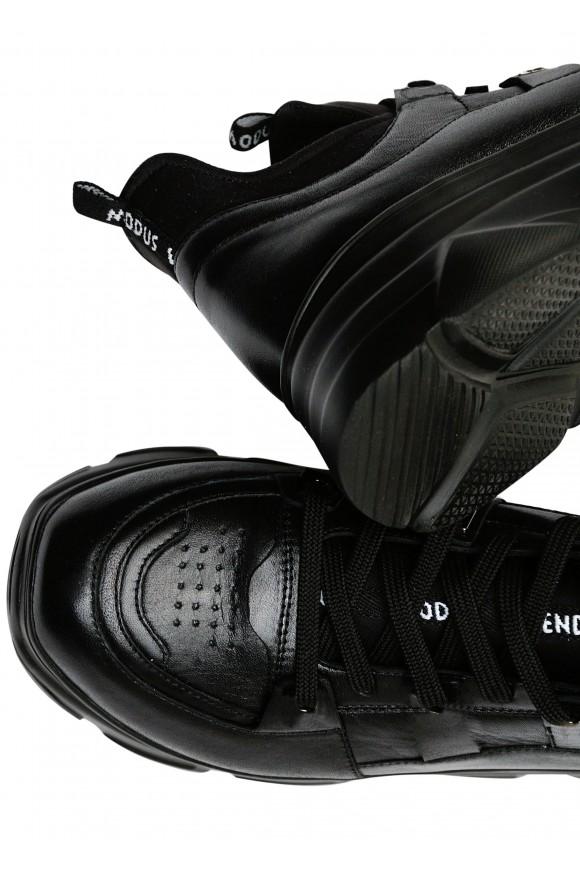 571309 Чорні кросівки з натуральної шкіри