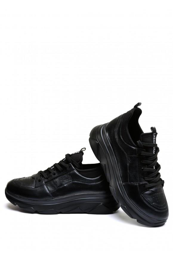571309 Чёрные кроссовки из натуральной кожи