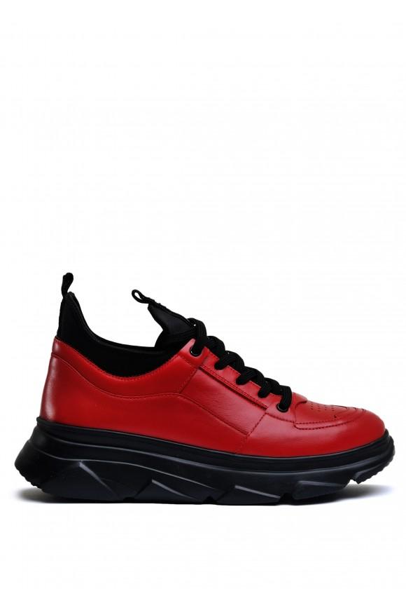 571319 Шкіряні кросівки червоного кольору