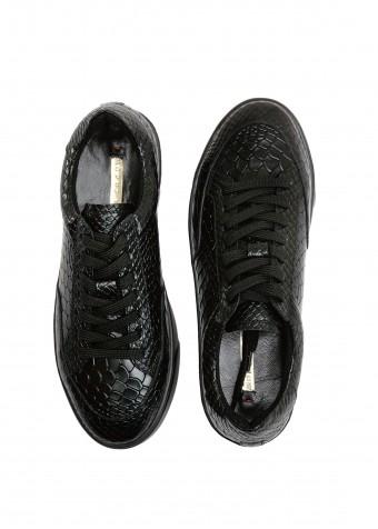 910565 Чёрные кожаные кеды