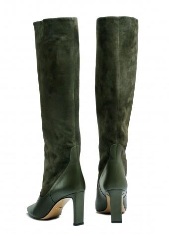 146021 Замшевые сапоги цвета хаки