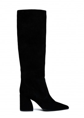 146052 Чорні замшеві чоботи