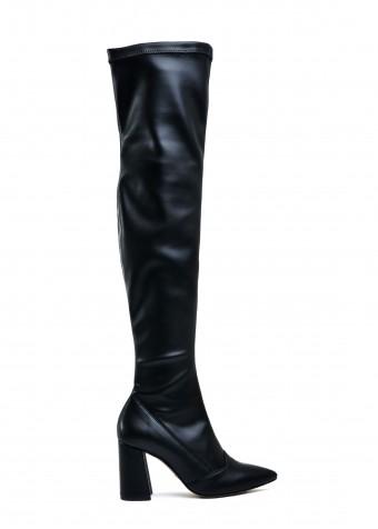 724715 Стрейчевые ботфорты на каблуке на очень узкую ногу