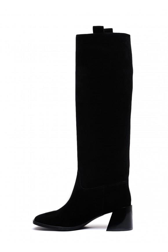 946301 Замшевые сапоги с квадратным носком