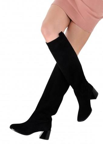 946301 Замшеві чоботи з квадратним носком