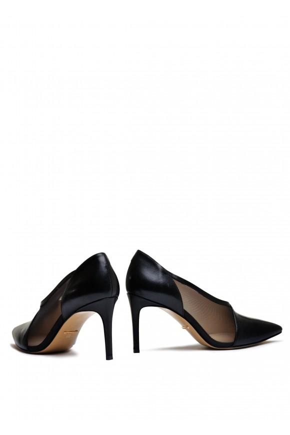 727101 Комбинированные чёрные туфли