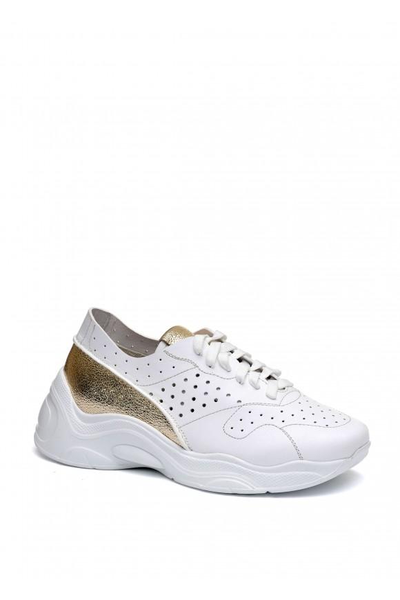 566401 Стильные белые кожаные кроссовки