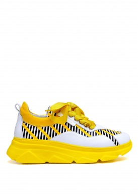 566552 Яркие кожаные кроссовки