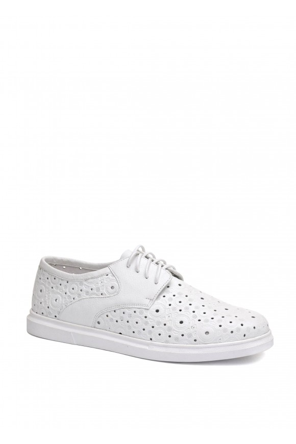 910001 Белые кожаные летние туфли