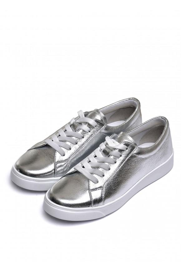 910413 Кожаные кеды цвета серебро