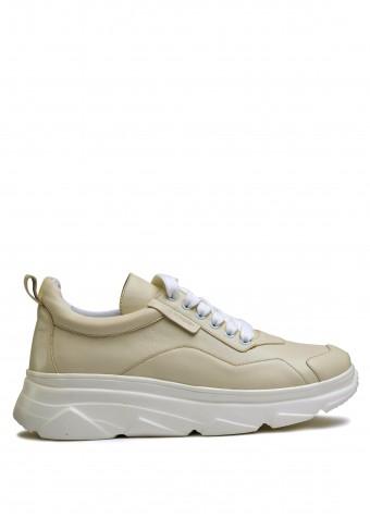 566573 Бежевые кожаные кроссовки