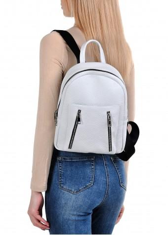 10621 Белый кожаный рюкзак