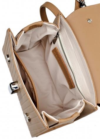 10783 Кожаная бежевая сумка