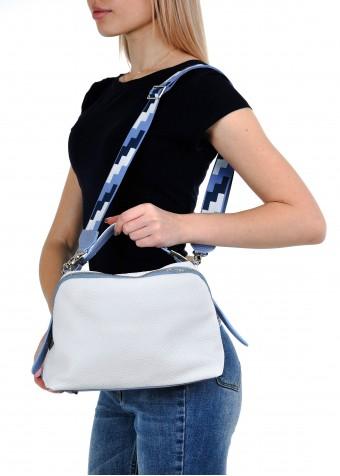 10921 Белая кожаная сумка