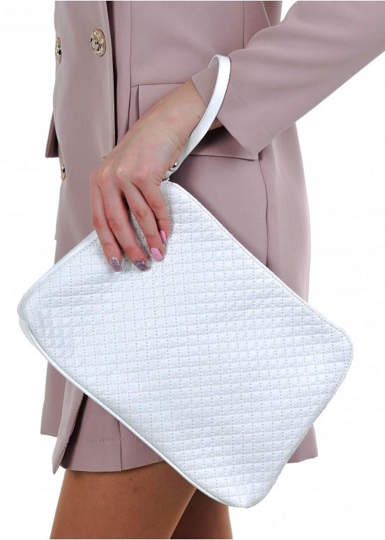 38005 Белая стеганная кожаная сумка