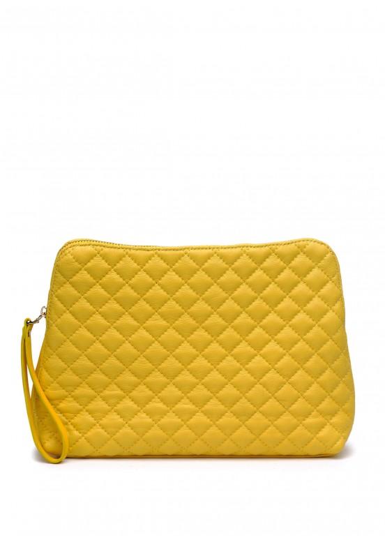 38006 Желтая стеганая кожаная сумка