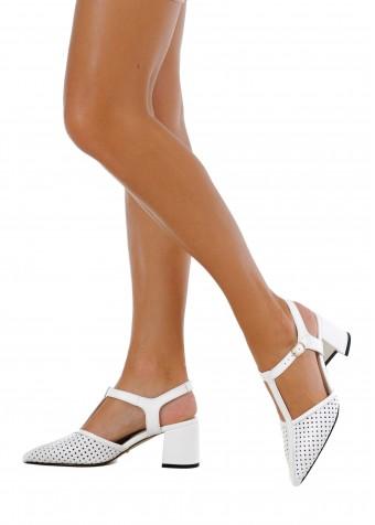 718301 Білі шкіряні туфлі