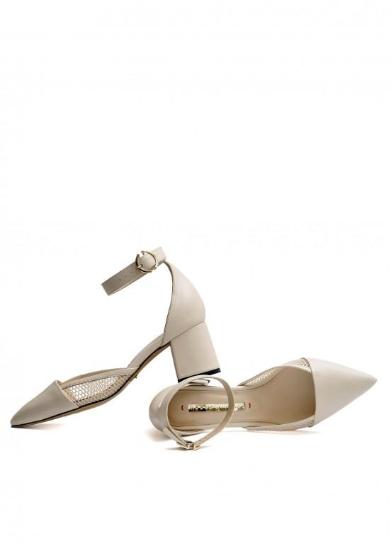 719101 Кожаные бежевые туфли