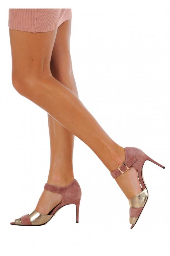 723401 Замшевые туфли с открытым острым носом