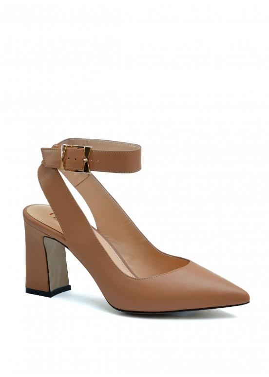 810311 Красивые кожаные туфли карамельного цвета