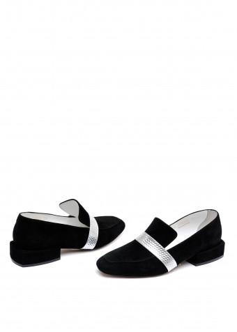888001 Черные замшевые туфли на узкую ногу