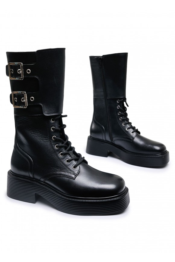 017701 Кожаные высокие ботинки  на каучуковой подошве