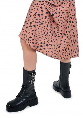 017701 Шкіряні високі черевики на каучуковій підошві