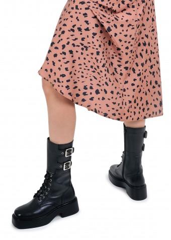 017701 Шкіряні високі черевики