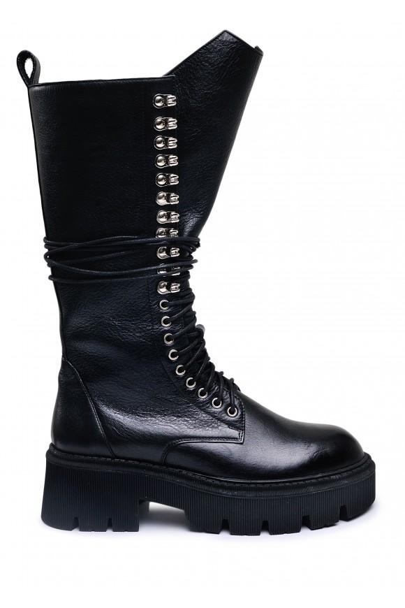 192112 Грубі високі черевики на шнурівці і блискавки
