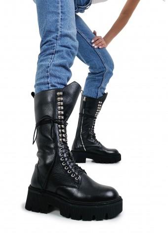 192112 Грубые высокие ботинки на шнуровке и молнии