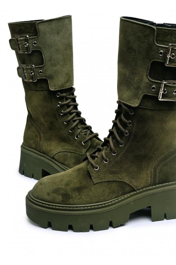 192303 Замшеві високі черевики