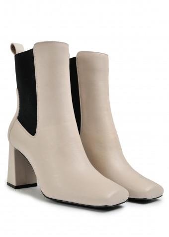 198133 Кожаные утепленные  ботинки на устойчивом каблуке