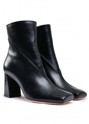 198203 Кожаные утепленные  ботинки на устойчивом каблуке