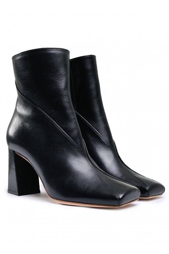 198203 Шкіряні утеплені черевики на стійкому каблуці