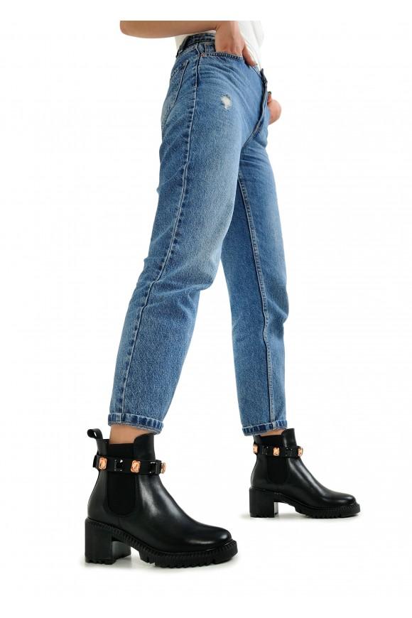 352203 Кожаные утепленные  ботинки