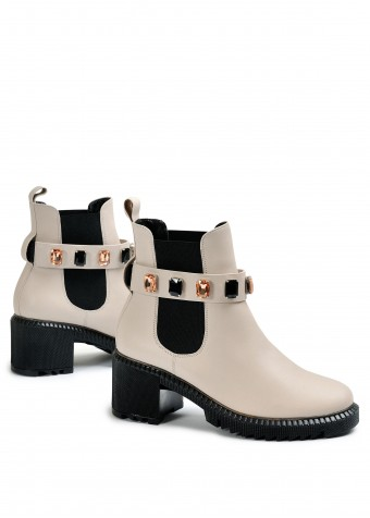 352213 Кожаные утепленные  ботинки