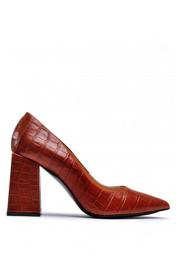 727806 Рыжие кожаные туфли