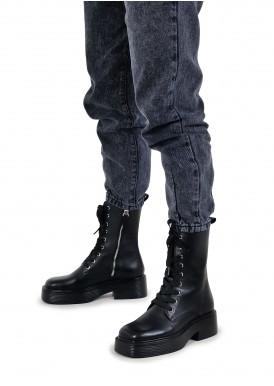 017301 Кожаные ботинки с высокой шнуровкой