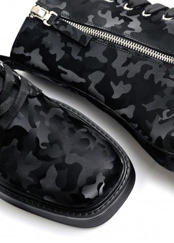 017311 Ботинки на шнурках Combat из натуральной кожи