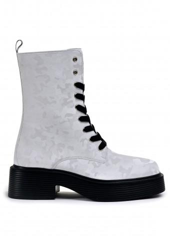 017321 Белые ботинки Combat с высокой шнуровкой