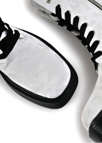 017321 Белые ботинки с высокой шнуровкой