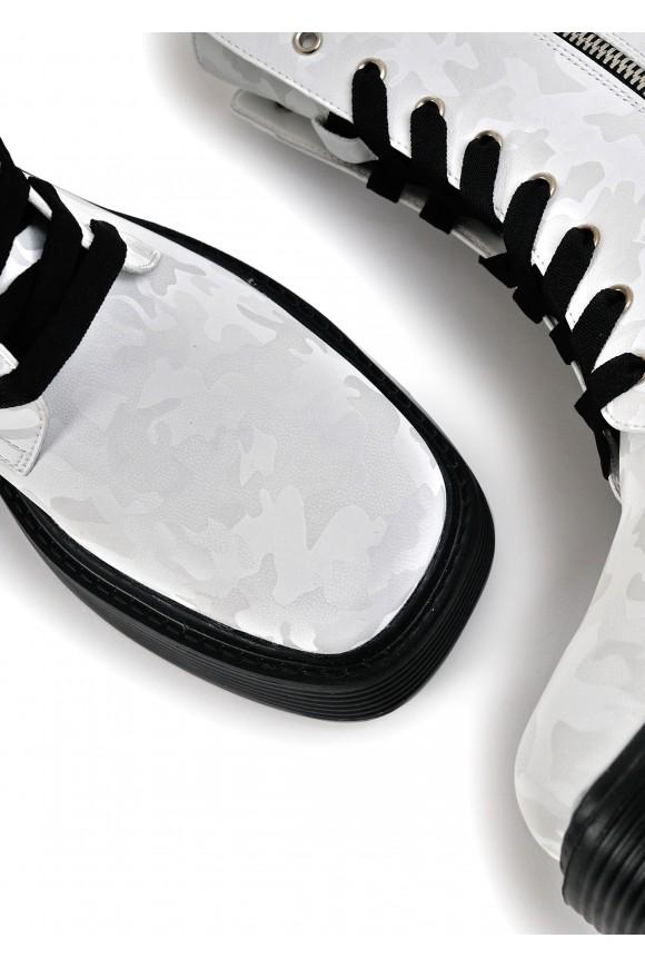 017321 Білі черевики Combat з високою шнурівкою