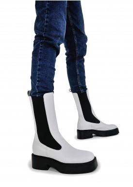 017421 Белые высоки ботинки-челси