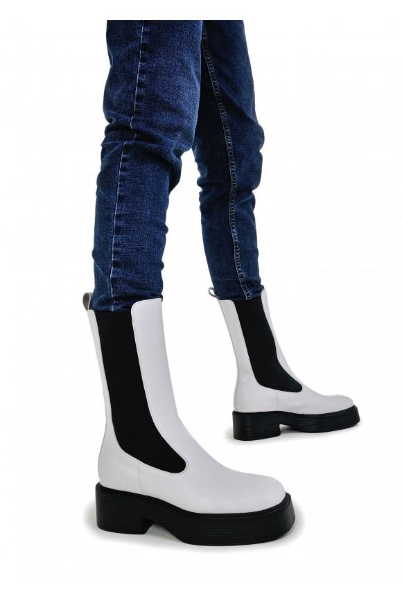 017421 Білі високі черевики-челсі
