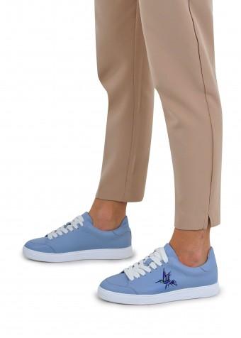 912056 Голубые кожаные кеды
