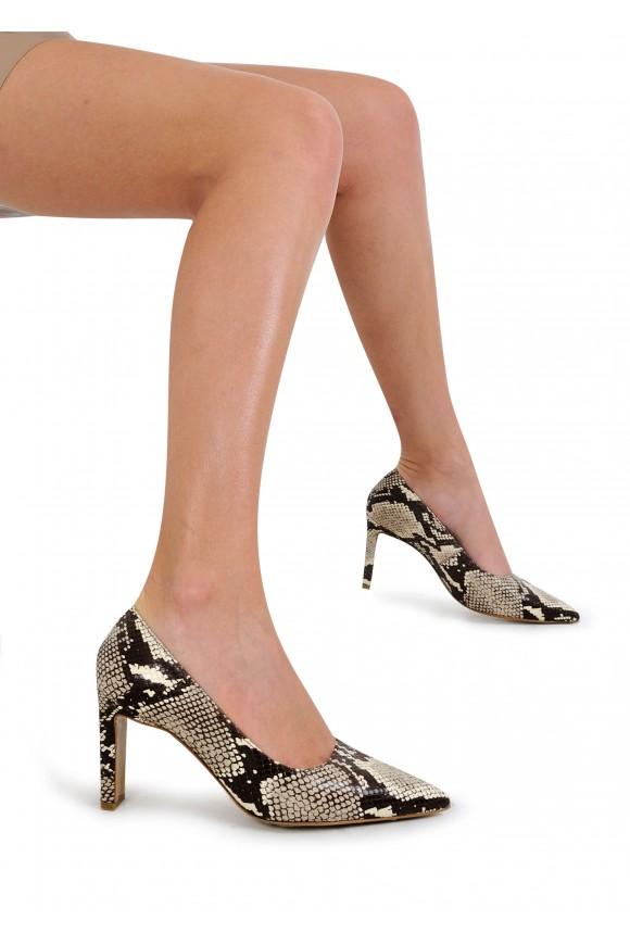 118022 Туфлі човники з натуральної шкіри під пітон на підборах